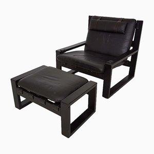 Brutalistischer Vintage Sessel & Fußhocker von Sonja Wasseur, 1970er