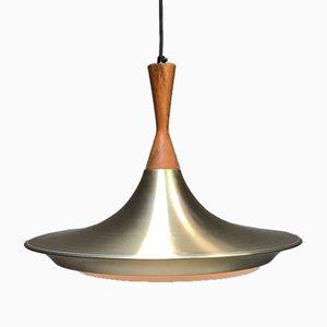 Lampada da soffitto in ottone e teak di Bent Nordsted per Lyskaer, Danimarca, anni '60