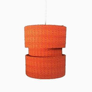 Lámpara de techo bohemia con tela naranja, años 70