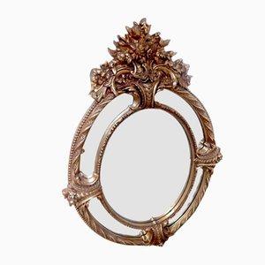 Espejo francés estilo Barroco vintage de madera dorada