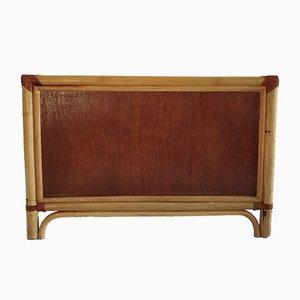 Mobiletto basso vintage in bambù e vimini, anni '70