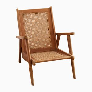 French Oak & Cane Armchair, 1950s
