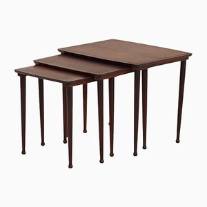 Vintage Danish Rosewood Nesting Side Tables from Møbelintarsia, 1950s, Set of 3