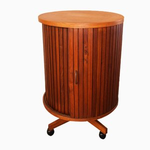Italian Circular Teak Cabinet with Wheels, 1950s