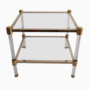 Vintage Glass and Gold Metal Side Table from Roche Bobois, 1970s