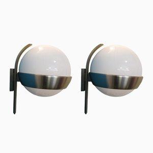 Apliques de vidrio y aluminio anodizado de Lumi Milano, años 60. Juego de 2