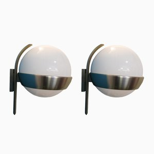 Wandleuchten aus Glas und eloxiertem Aluminium von Lumi Milano, 1960er, 2er Set