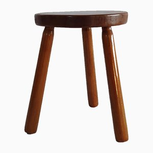 Modernist Solid Wood Tripod Stool, 1960s