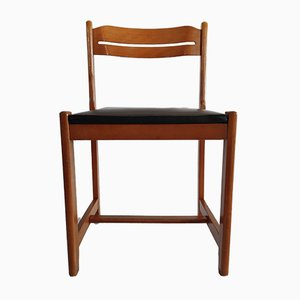 Wood & Black Leatherette Side Chair, 1970s