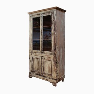 Vintage Werkstattvitrine aus Holz, 1950er