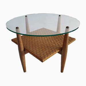 Vintage Wood, Glass & Rattan Coffee Table, 1960s