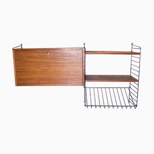 Teak Shelf, Container & Magazine Rack by Kajsa & Nils Nisse Strinning for String, 1960s