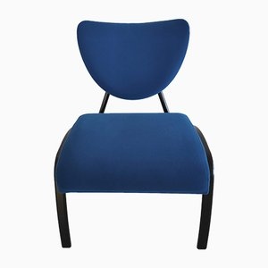 Black Metal and Blue Canvas Side Chair, 1980s