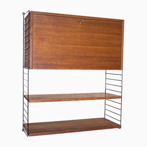 Vintage Teak Shelf with Container by Kajsa & Nils Nisse Strinning for String, 1960s