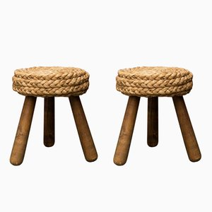 Vintage French Wicker Stools, Set of 2