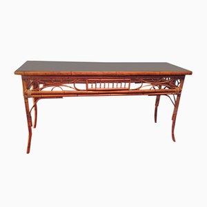 Mesa consola vintage de bambú, años 60