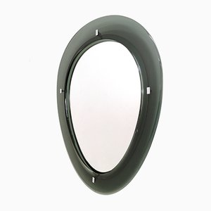 Oval Italian Beveled Glass Wall Mirror from Fontana Arte, 1950s