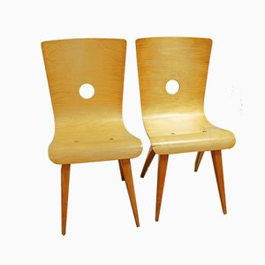 Birch Swing Dining Chairs by C.J. van Os for Culembourg, 1940s, Set of 2