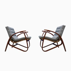 Vintage Czech Lounge Chairs by Jan Vanek for UP Zavodny, 1930s, Set of 2
