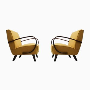 Gelbe Vintage Sessel aus Bugholz von Jindrich Halabala für Thonet, 1930er, 2er Set