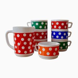 Juego de té o café multicolor vintage de Arcopal, años 60