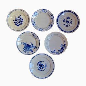 Piatti vintage blu e bianchi, Francia, set di 6