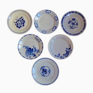 Vintage French Blue & White Plates, Set of 6