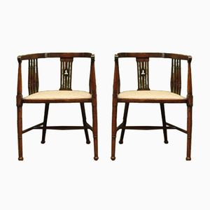 Antique Wooden Tub Chairs with Upholstered Seats, Set of 2