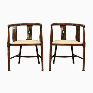 Chaises Tubulaires Antique en Bois avec Assises Rembourrées, Set de 2