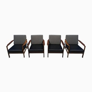 Mid-Century Lounge Chairs by Zenon Baczyk for Swarzedz Furniture Factory, 1960s, Set of 4