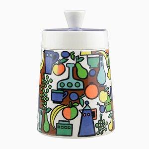 Caja de cerámica de colores con tapa de Goebel, 1962