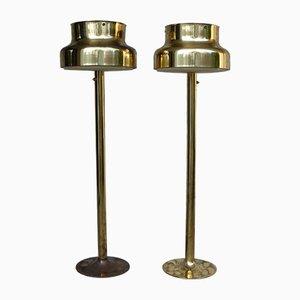 Lámparas de pie Bumling vintage de latón de Anders Pehrson para Ateljé Lyktan, años 60. Juego de 2