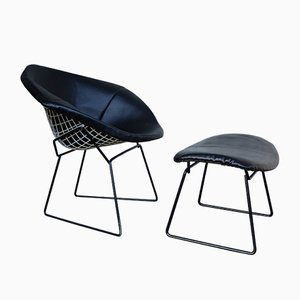 Set de Chaise Diamond 421 & Ottomane Vintage par Harry Bertoia pour Knoll Inc., 1960s