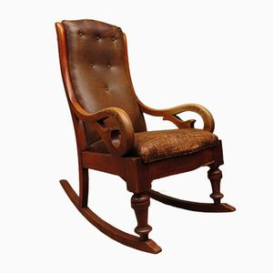 Antique Victorian Rexine Leather Rocking Chair
