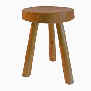 Pine Les Arcs Stool by Charlotte Perriand, 1960s