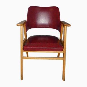 Sedia da scrivania in similpelle rossa, anni '50