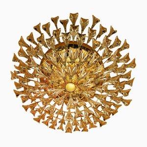 Deckenlampe aus vergoldetem Messing & Kristallglas von Stilkronenm 1970er