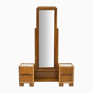 Espejo de recibidor Art Déco de roble y nogal, años 30