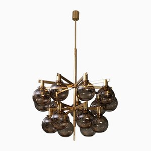 Brass Model T348/15 Chandelier by Hans-Agne Jakobsson, 1960s