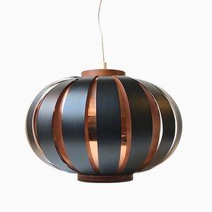 Lámpara colgante danesa moderna de cobre y teca de Svend Aage Holm Sørensen, años 60