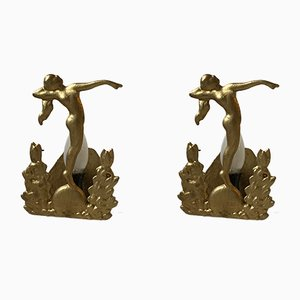 Art Deco Nude Female Sconces, 1930s, Set of 2
