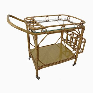 Italian Bamboo & Rattan Serving Bar Cart, 1950s