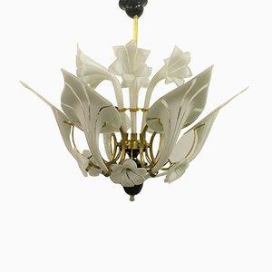 Lámpara de araña floral de cristal de Murano, años 60
