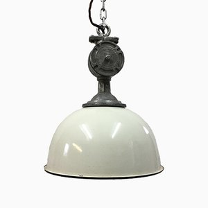 Vintage Industrial Cream Factory Pendant