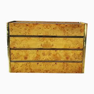 Burl Wood & Brass Dresser by Willy Rizzo for Mario Sabot, 1960s
