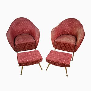 Vintage Italian Armchairs with Ottomans, Set of 2