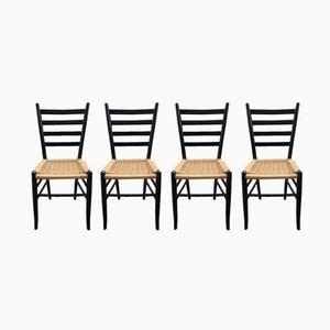 Holzstühle mit Sitzgeflecht, 1960er, 4er Set