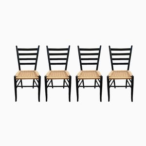 Wood & Rope Chairs, 1960s, Set of 4
