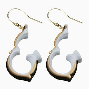 Handle Hanging Gold Earrings by Maria Juchnowska