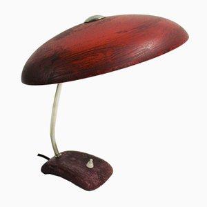 Lámpara de escritorio Mid-Century roja, años 50